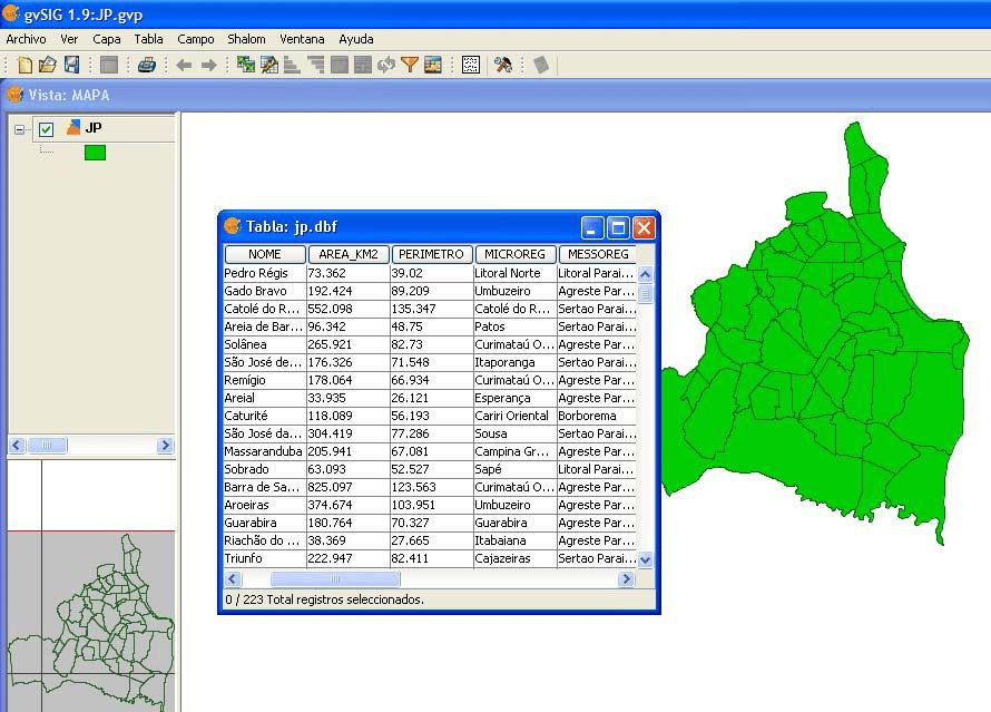 Visualizando tabelas externas no gvSIG