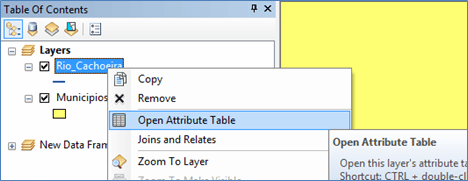 Open attributes table