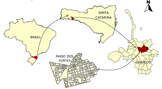 Imagem 01 – Localização de Chapecó/SC/Brasil. Imagem desenvolvida com auxílio do GvSIG 1.11.10. Fonte de dados: IBGE, 2010 e Prefeitura Municipal de Chapecó, 2013. Sem escala.  Editado por: CARNIATO; GONÇALVES, 2013.