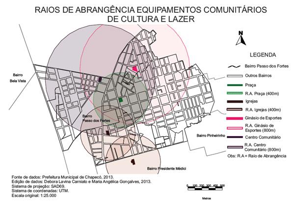 Mapa 03 – Raios de abrangência dos equipamentos comunitários de cultura e lazer. Fonte: CARNIATO; GONÇALVES, 2013.