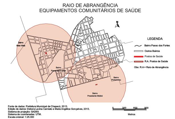 Mapa 04 – Raio de abrangência dos equipamentos comunitários de saúde. Fonte: CARNIATO; GONÇALVES, 2013.