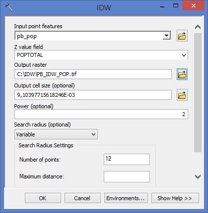 ArcGIS: Interpolação de Pontos pela Ponderação do Inverso da Distância (IDW)