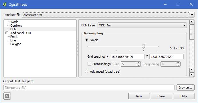 Plugin Qgis2threejs: QGIS