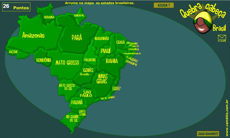 Para Crianças: Quebra Cabeça com Mapa do Brasil