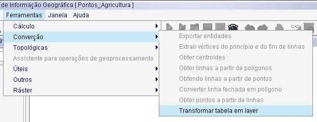 Transformar tabela em layer