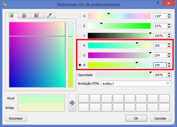Alterando as Cores a partir do Código RGB no QGIS