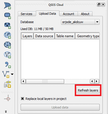 QGIS Cloud: Upload Data
