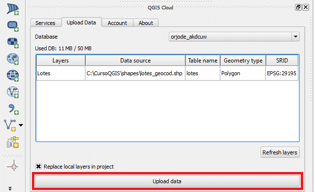 QGIS Cloud: Upload Data GIS