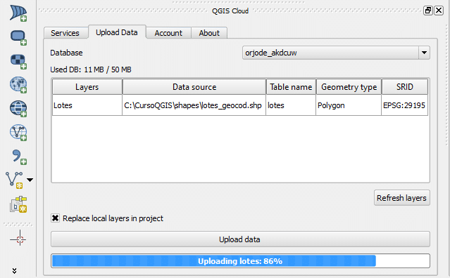QGIS Cloud Plugin: Upload Data