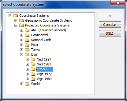 SuperGIS: Select Coordinate System