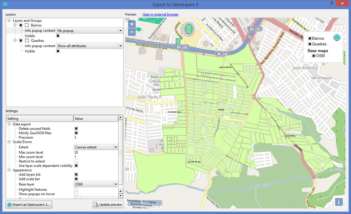 Interface do QGIS Plugin Export to OpenLayers 3