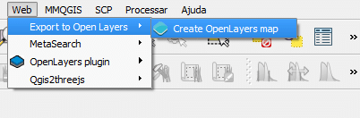 Acesso ao Plugin Export to OpenLayers 3
