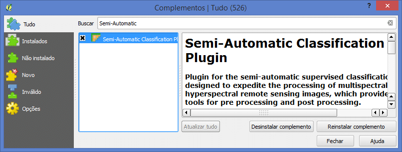 QGIS: Instalação do Semi-Automatic Classification Plugin