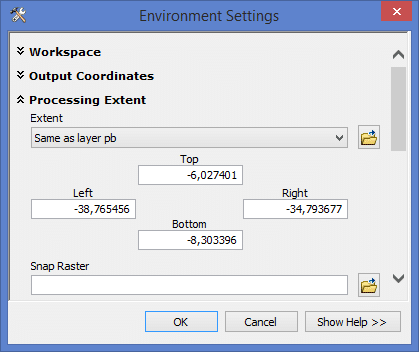 ArcGIS - Environment Setting: Processing Extent