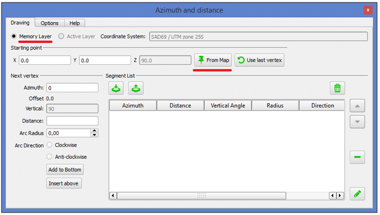 Janela Azimuth and Distance Plugin