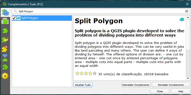 Instalar Plugin Split Polygon no QGIS