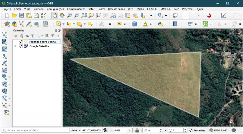 Dividir Polígonos em partes com Áreas Iguais